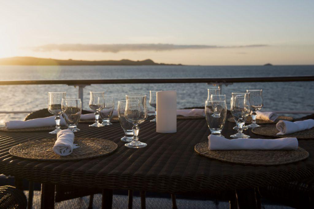 Dinner on galapagos cruise